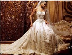 Victorian Wedding Dresses - I'm not ever getting married again, but this is a gorgeous wedding dress. Cream Wedding Dresses, Most Beautiful Wedding Dresses, Ivory Wedding, Beautiful Gowns, Bridal Dresses, Gorgeous Dress, Elegant Wedding, Glamorous Wedding, Elegant Gown