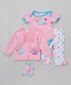 Love this Pink Elephant Bodysuit Set - Infant by Duck Duck Goose on #zulily! #zulilyfinds
