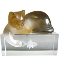 lalique cat and fish figurine
