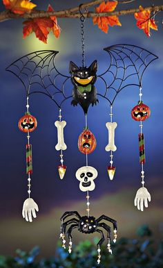 bat spider halloween windchime wind chimesdecor