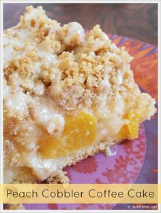 Peach Cobbler Coffee Cake Recipe ~ A base of coffee cake, a layer of peaches, more cake, then a streusel topping and a basic powdered sugar glaze tops it off