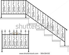 Wrought iron stairs, gate design - stock vector