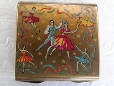 Stratton ballet compact, vintage 1950s Stratton, square shape with ballet dancers, English Powder Compact. by NanaBarbarastreasure on Etsy
