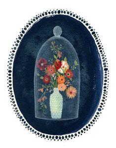bell jar, watercolour painting, flowers illustration
