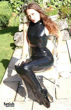 Black Latex Hobble Dress and Black Ballet Boots