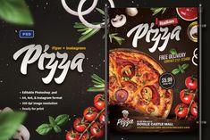 Pizza Restaurant flyer & Instagram banner template for Adobe Photoshop. #creativenmarket #flyer #poster #banner #socialmedia #adobe #photoshop #graphic #design #template #ads #promotion #pizza #restaurant #menu #food #italy #italian #fastfood #fast #restaurantdesign