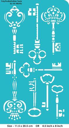 Modèles de pochoirs pochoir « Clés », auto-adhésif, souples, pour la pâte polymère, tissu, bois, verre, fabrication de cartes