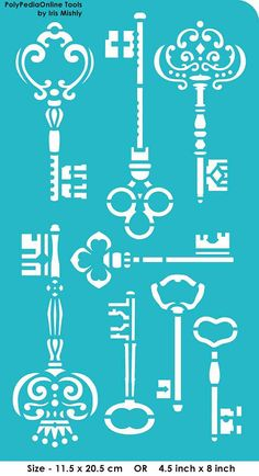 "Stencil Stencils Templates ""Keys"", self-adhesive, flexible, for polymer clay, fabric, wood, glass, card making"