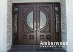 This is a gorgeous #Amberwood #mahogany double entry #door with glass and matching #sidelights!