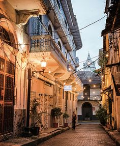 The cobblestone streets of Casco Viejo, Panama City's revitalized historic district, are lined with rustically beautiful Spanish colonial buildings.