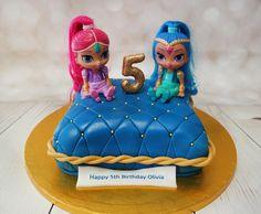 One for the Girls,Shimmer and Shine inspired cake! #shimmerandshinecake #pillowcake https://www.craftycakes.com/