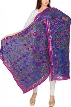Blue & Pink Georgette Phulkari Dupatta