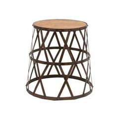 "Wood top accent stool with a latticed metal base.           Product: Stool  Construction Material: Metal and wood  Color: Brown    Dimensions: 18"" H x 14"" Diameter   Cleaning and Care: Clean with dry cloth"