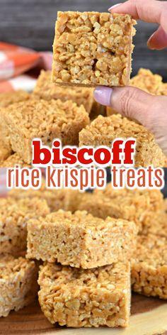 EASY Biscoff Rice Krispies Treats Recipe {nut free} Thick and chewy Biscoff Rice Krispie treats are the perfect nut-free lunch snack! Pavlova, Just Desserts, Dessert Recipes, Popcorn Recipes, Fun Recipes, Candy Recipes, Cupcake Recipes, Beef Recipes, Cookie Recipes