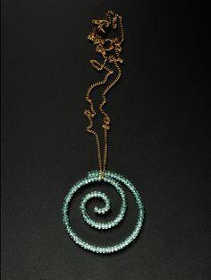 Large Spiral pendant in apatite by Estyn Hulbert