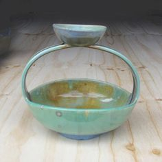 Oblong crystal ceramic chip and dip in greens by SunbirdPottery, $80.00