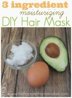 Make your own diy moisturizing hair mask at home with just 3 simple ingredients coconut oil... Ocado... D egg! Hair Mask At Home, Best Diy Hair Mask, Egg Hair Mask, Egg For Hair, Hair Mask For Growth, Hair Masks, Coconut Oil Hair Treatment, Oil Treatment For Hair, Hair Treatments