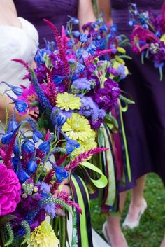 Bridal Bouquets Purple Pink and Blue Flowers