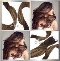 Chocolate Brown To Light Caramel Brown - Balayage / Ombre Tape Hair Dark Brown Balayage, Balayage Ombré, Invisible Hair Extensions, Tape In Hair Extensions, Ashy Blonde, Silver Blonde, Caramel Brown, Chocolate Brown, Light Ash Brown Hair