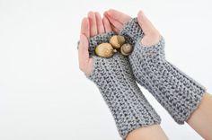 Women's Crochet Knit Fashion Fingerless Gloves #Handmade