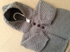 Grey Crochet Baby Sweater with Hood for Boy or by ForBabyCreations