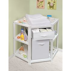 Shop for Diaper Corner Baby Changing Table with Hamper and Basket. Get free delivery On EVERYTHING* Overstock - Your Online Baby Furniture Shop! Get in rewards with Club O! Baby Changing Tables, Changing Table Dresser, Kids Bookcase, Nursery Furniture, Furniture Decor, Furniture Market, Furniture Removal, Office Furniture, Storage Spaces