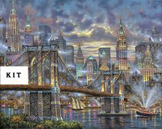 Brooklyn Bridge Landscape Cross Stitch Kit by icrossstitchpattern on Etsy