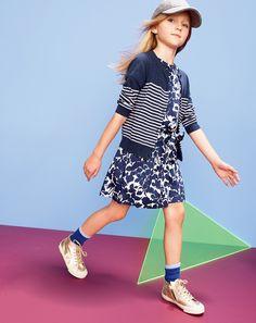 AUG '14 Style Guide: J.Crew girls' stripe cardigan and evening primrose sateen dress.