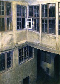 The Athenaeum - Interior of Courtyard, Strandgade (Vilhelm Hammershøi - 1899)