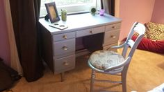 After picture of vintage mid century desk and vintage chair - painted silver, mirror knobs, french fabric