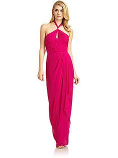 COMES IN TANGERINE Badgley Mischka Silk Keyhole Draped Halter Gown