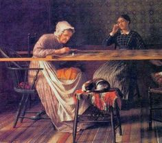 """Enoch Wood Perry (American painter, 1831–1915) A """"Quilting Party"""""""
