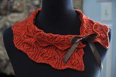 Love the ribbon on...Ravelry: Rusty Collar Scarf pattern by Kitman Figueroa