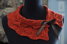Love the ribbon on...Ravelry: Rusty Collar Scarf pattern by Kitman Figueroa