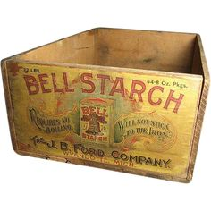 What a great old box found just this week here in farm country. This box once contained 64 eight ounce packages of Bell Starch, made by The J. Vintage Wooden Crates, Old Wooden Boxes, Old Crates, Old Boxes, Vintage Christmas Cards, Vintage Holiday, Vintage Halloween, Holiday Cards, Halloween Items