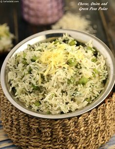 Cheese, Onion and Green Peas Pulao has an interesting mix of ingredients ranging from rice and green peas to grated cheese, which makes it tasty and wholesome too.