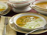 Roasted Butternut Squash Soup and Roasted Parsnip Soup.