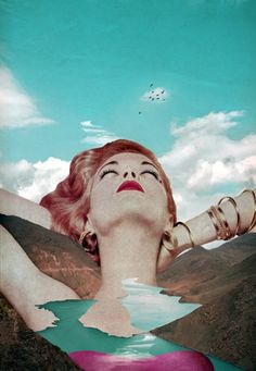 What drew me to this photomontage was the contrast of the blue sky with the red of the woman's hair and lips. It creates and cool and calm effect alongside with a warm feel of the woman. Art Conceptual, Surreal Art, Photomontage, Eugenia Loli, Montage Photo, Photoshop, Poster S, Foto Art, Banksy