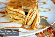 Apple Cinnamon Pancakes with Caramel Sauce...so simple, because they are made with applesauce! Yum!
