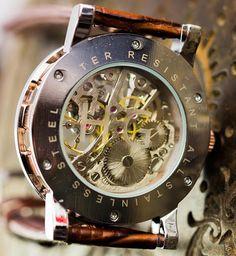 Watches for men skeleton watch personalized watch engraved Watch Engraving, Glass Engraving, Luxury Watch Brands, Luxury Watches For Men, Patek Philippe, Audemars Piguet, Groomsmen Watches, Steampunk Watch, Skeleton Watches