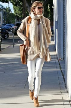 Alessandra Ambrosio wearing Rag & Bone Harrow Boots Hermes Soleil Evelyne PM Shoulder Bag INHABIT Boiled Wool Cardigan in Camel Gucci 3502 Sunglasses in Havana Armand Diradourian Baby Cashmere Shawl Wildfox The Marianne Jeans in White Noise