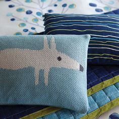 Mr Fox Lagoon Knitted Cushion - Scion Bedding - A fun knitted cushion with the delightful Mr Fox motif. Available in three colours which perfectly complement the bedding collections. Shown here in the Indigo and Lagoon blue. Knitted Cushions, Bed Cushions, Throw Pillows, Scion Mr Fox, Cushions Online, Dose Of Colors, Decorative Cushions, Room Accessories, Bedding Collections