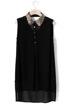Sequins Peter Pan Collar Dipped Hem Top in Black  #Chicwish would be great for parties..