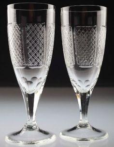 2 Vintage Sektgläser Sektglas geschliffen Linienschliff klar Glas Gläser