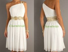 Hey, I found this really awesome Etsy listing at http://www.etsy.com/listing/161155437/short-white-chiffon-prom-gowns-with-gold