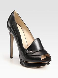 Nicholas Kirkwood leather peep toe loafer platform pumps $950
