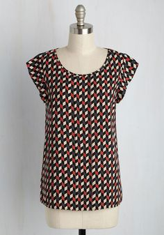 Star of the Seminar Top in Abstract Chevron, #ModCloth