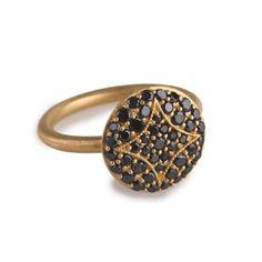 Jamie Wolf - Aladdin Disc Ring with Black Diamonds
