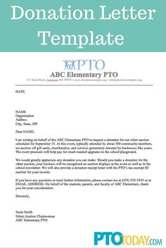 use this template to send out requests for donations to support your group pto