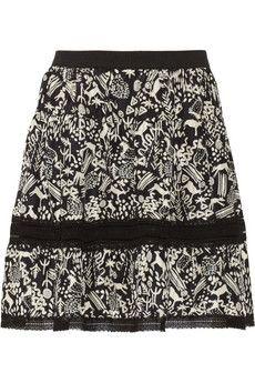 SEA Primitive Deer lace-trimmed printed silk skirt | NET-A-PORTER